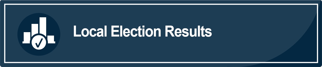 This is an image of a blue rectangle with the words Local Election Results in white. This image takes the user to a webpage with contest results for the March 3, 2020 election.