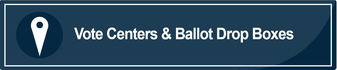 This is an image of a blue rectangle with the words Vote Centers and Ballot Drop Off locations in white. This image takes the user to a webpage with Vote Center and Ballot Drop Box locations in the County of Sacramento for the March 3, 2020 election.